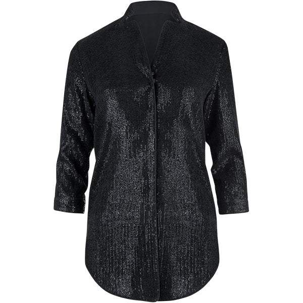 Sequined Notch Collar Tunic in Black
