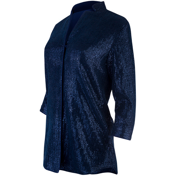 Sequined Notch Collar Tunic in Navy