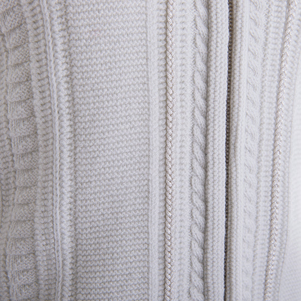 Double Collar Zip Cardigan with Trim Accent in White/Silver