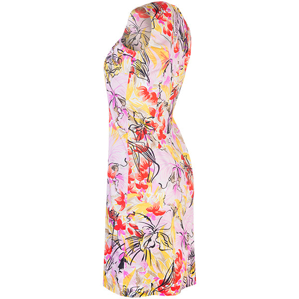 Split Neck Sleeveless Shift Dress in Tropical Orchids