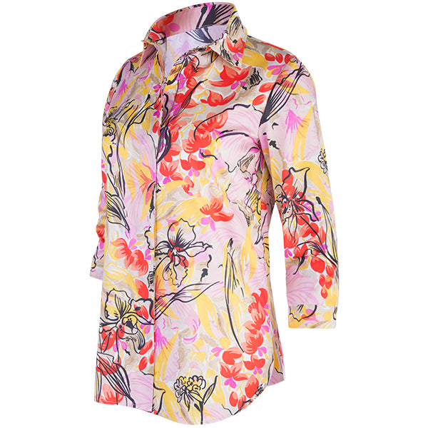 Classic Placket-Front 3/4 Sleeve Shirt in Tropical Orchids