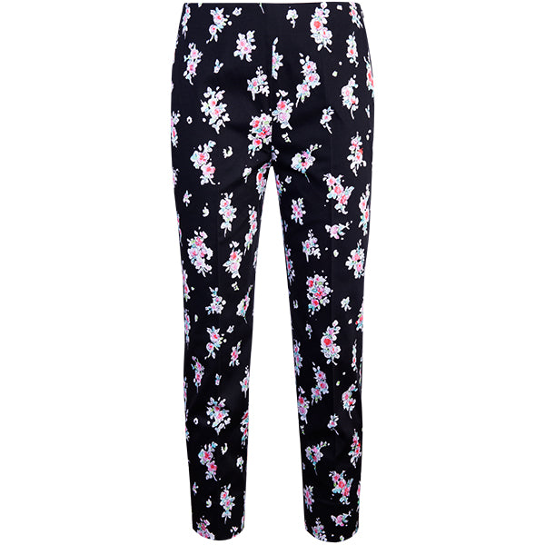 Slim Fit Capri in Apple Blossoms-Black