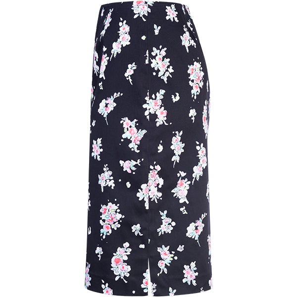 Cotton Stretch Straight Skirt in Apple Blossoms-Black