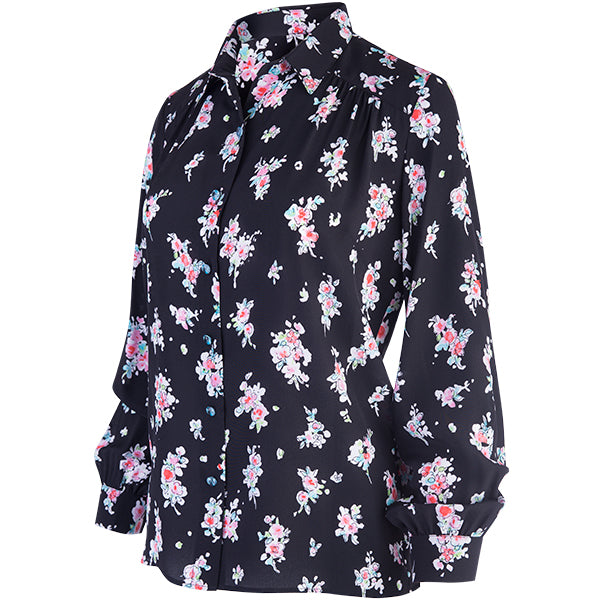 Long Sleeve Yoke Shirt with Front Gathers in Apple Blossoms-Black