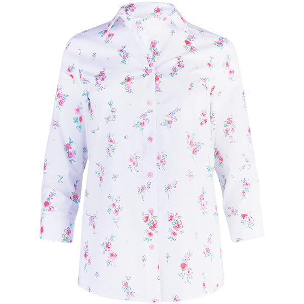 Classic Yoke Shirt 3/4 Length Sleeve in Apple Blossoms-White