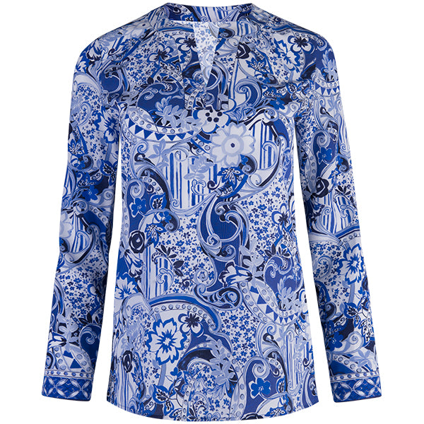 St Lucia Blouse in Oriental Porcelain