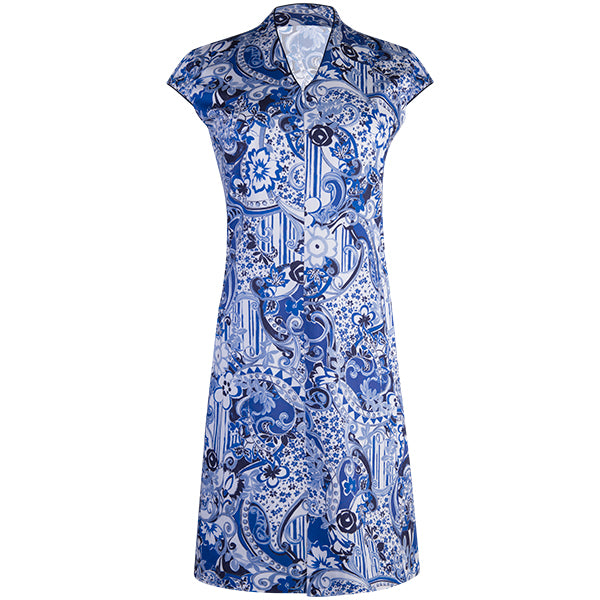 Funnel Neck Cap Sleeve Shift Dress in Oriental Porcelain