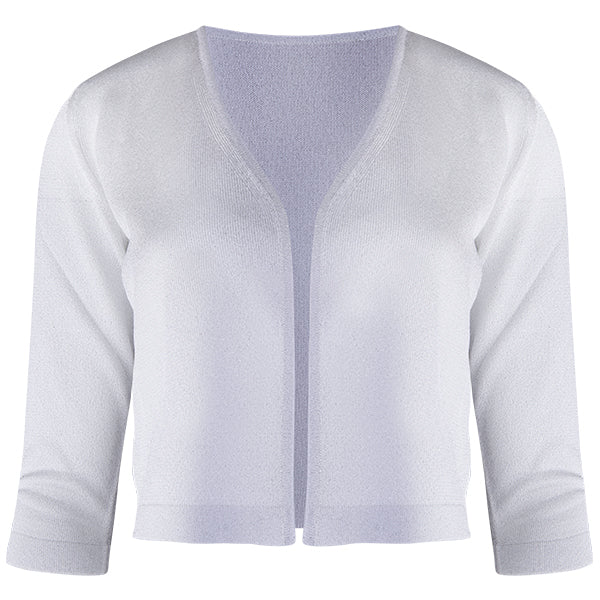 Lurex Acetate Bolero Cardigan in Silver