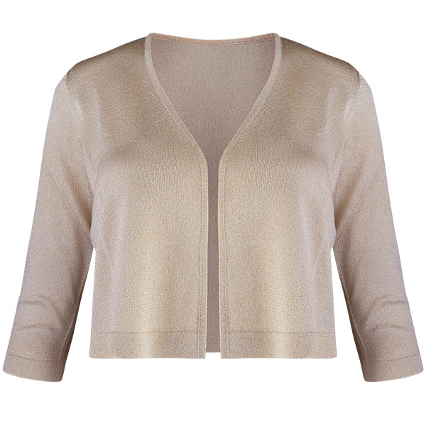 Lurex Acetate Bolero Cardigan in Gold