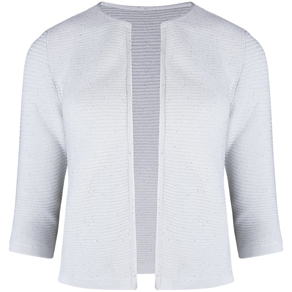 Rib Silk Sequin Cardigan in White