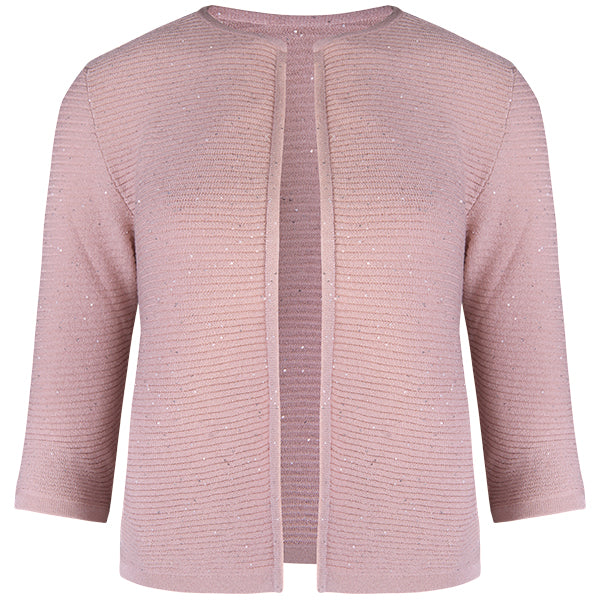 Rib Silk Sequin Cardigan in Pink
