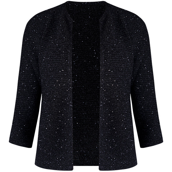 Rib Silk Sequin Cardigan in Black