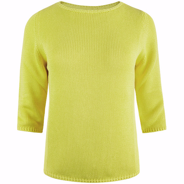 3/4 Sleeve Pullover in Acid Yellow