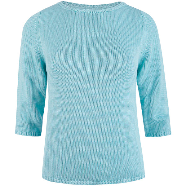3/4 Sleeve Pullover in Turquoise Sky