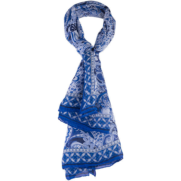 Printed Silk Square Scarf in Oriental Porcelain