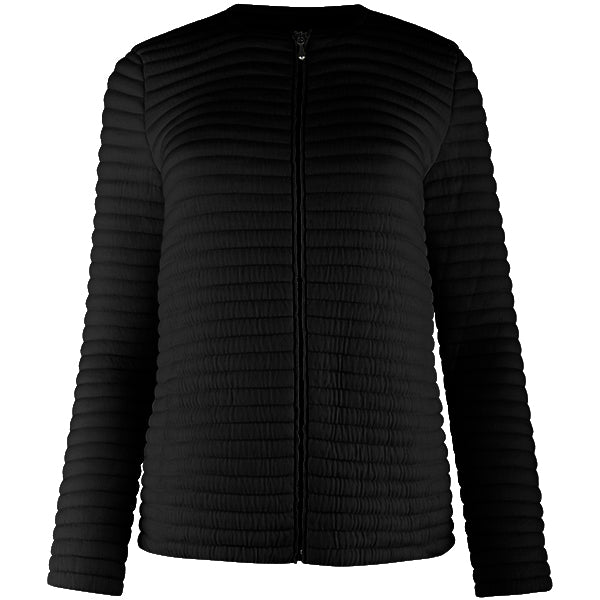 Knitted Zip Bomber Jacket in Black