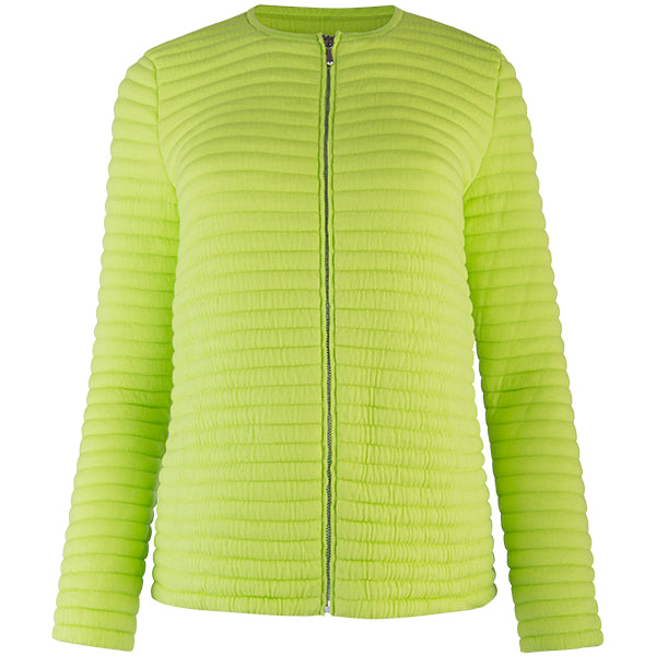 Knitted Zip Bomber Jacket in Acid Green