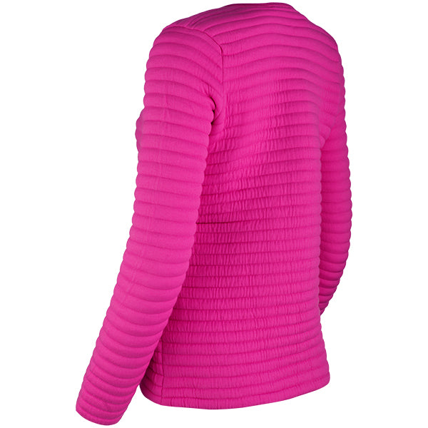 Knitted Zip Bomber Jacket in Fuchsia Pink