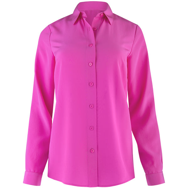 Water Washed Silk Classic Shirt in Pink