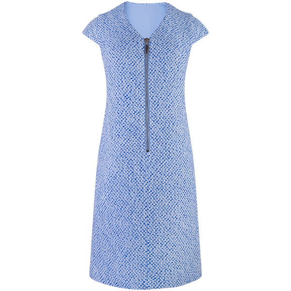 Front Zip Tweed Shift Dress in Blue/White