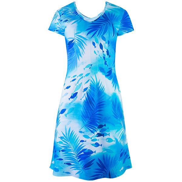 V-Neck Jersey Dress in Polynesian Waters