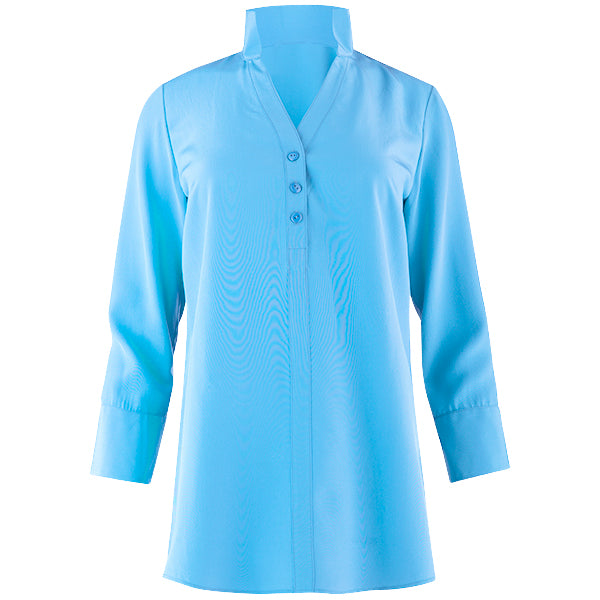 Water Washed Silk Polo Collar Tunic in Aqua Turquoise