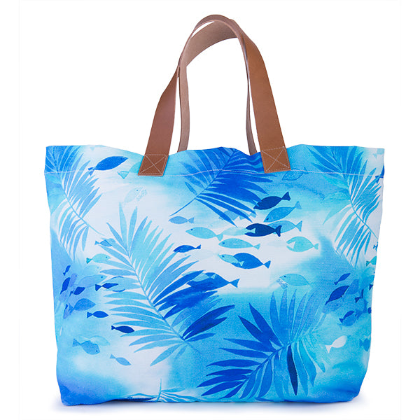 Printed Cotton Canvas Tote Bag in Polynesian Waters