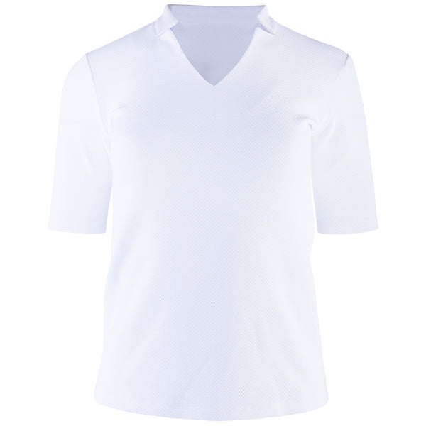 Notch Collar V-Neck Tee, Bicep Sleeve in White