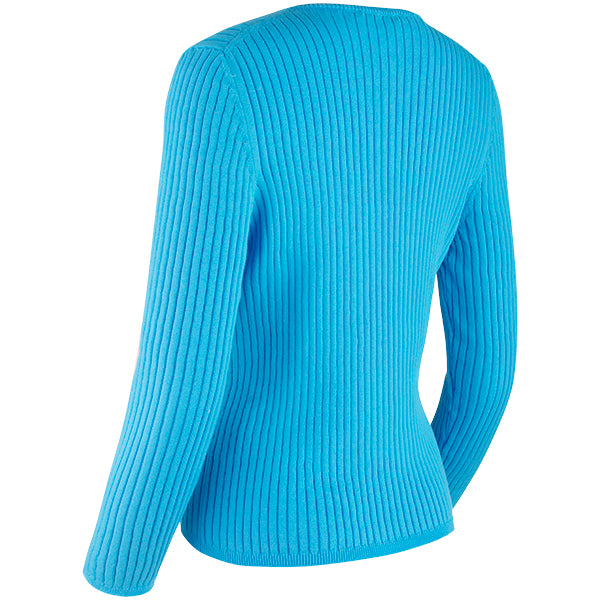 V-Neck Rib Pullover in Aquamarina