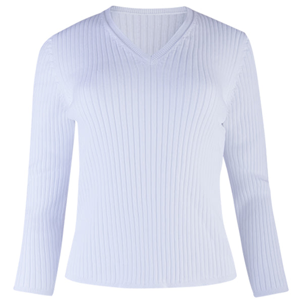 V-Neck Rib Pullover in White