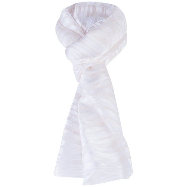Luxe Fil-Coupe Zebra Scarf in White