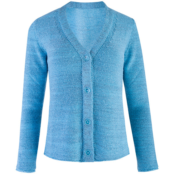 Novelty Long Sleeve Cardigan in Turquoise