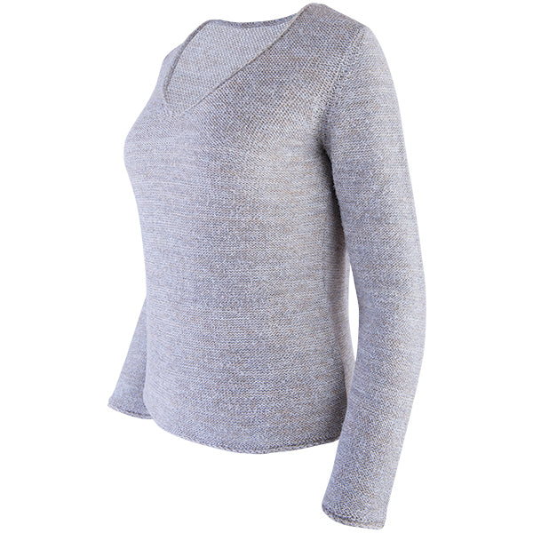 Novelty V-Neck Long Sleeve Pullover in Alabaster