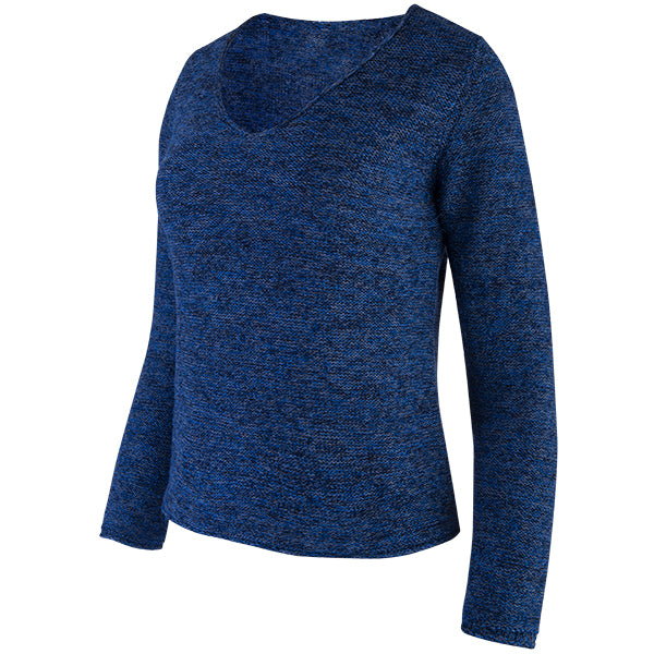 Novelty V-Neck Long Sleeve Pullover in Navy