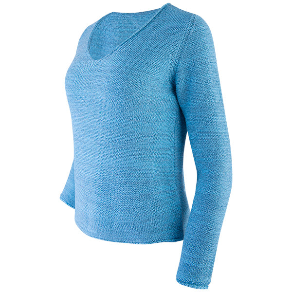 Novelty V-Neck Long Sleeve Pullover in Turquoise