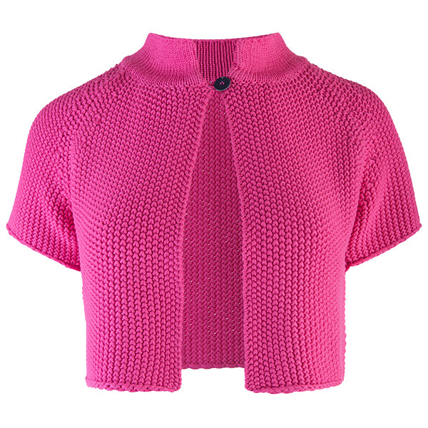 Raglan Sleeve 1-Button Cardigan in Fuchsia Pink