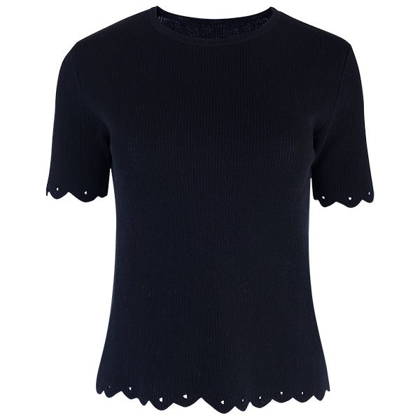 Scalloped Edge Short Sleeve Pullover in Black