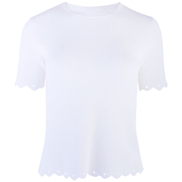 Scalloped Edge Short Sleeve Pullover in White