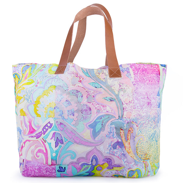Printed Cotton Canvas Tote Bag in Moroccan Holiday