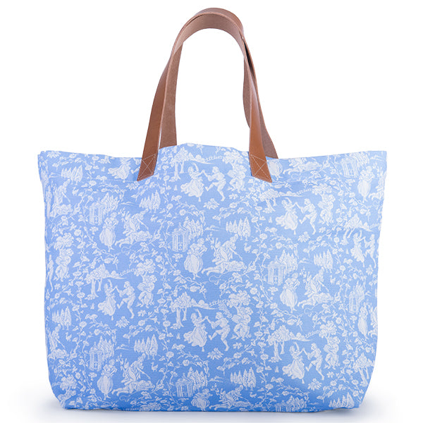 Printed Cotton Canvas Tote Bag in Celeste Provencal