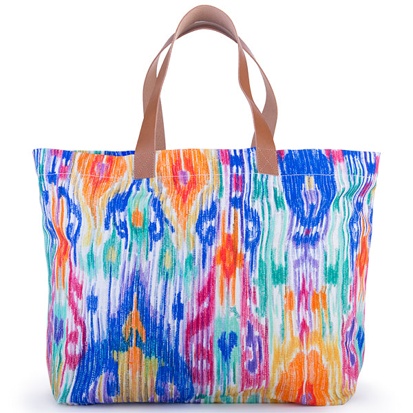Printed Cotton Canvas Tote Bag in Indian Splendor