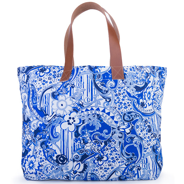 Printed Cotton Canvas Tote Bag in Oriental Porcelain