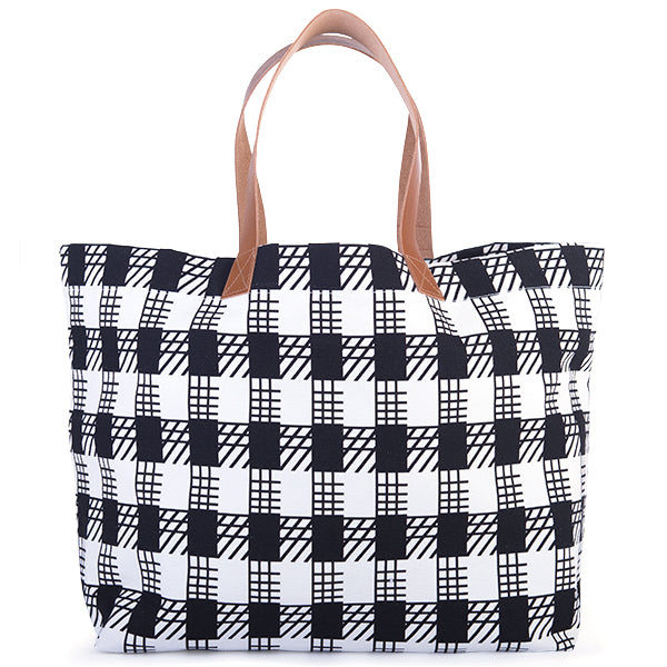 Printed Cotton Canvas Tote Bag in Black/White Gingham Check