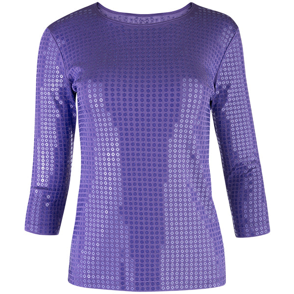 Sequin Shaped Knit Tee in Purple