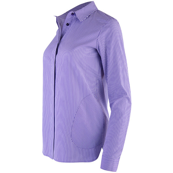French Pocket Pinstripe Shirt in Purple/White