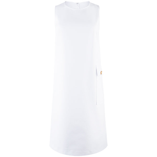 Sleeveless A-Line Shift Dress in White