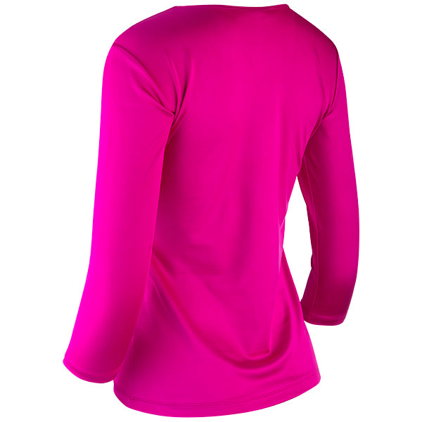 Shaped Lione Knit Tee in Fuchsia Pink