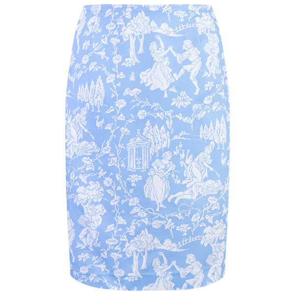 Straight Skirt in Celeste Provencal