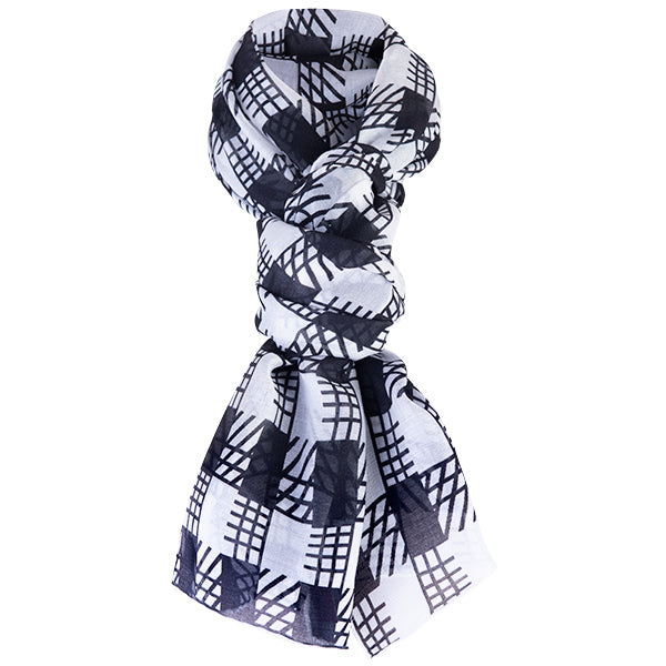 Printed Modal Cashmere Scarf in Black/White Gingham Check