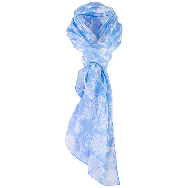 Printed Modal Cashmere Scarf in Celeste Provencal